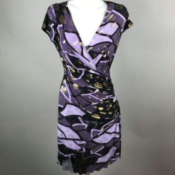 27d222e0c4c Joseph Ribkoff Dresses   Skirts - Joseph Ribkoff Purple Gold Faux Wrap Dress  ...